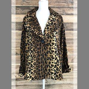 Susan Graver leopard print fleece collared jacket